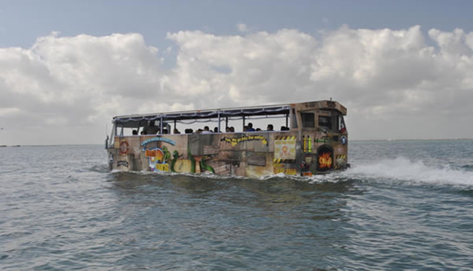 Ride in the amphibious bus across the Lagoon